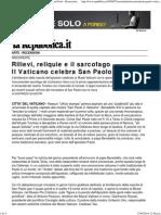 Rilievi, Reliquie e Il Sarcofago Il Vaticano Celebra San Paolo - Recensioni - Arte - Repubblica