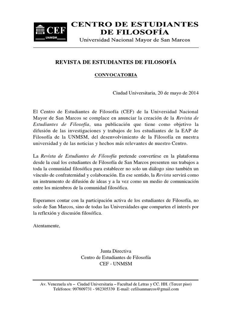 CEF. Revista de Estudiantes de Filosofía - Convocatoria