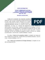 Note d'Information Du HCP Relative à l'Indice de La Production Énegétique Et Minière Au Deuxième Trimestre 2014