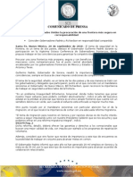 20-09-2010 El Gobernador Guillermo Padrés participó en la vigésima octava Conferencia de Gobernadores Fronterizos, donde propuso trabajar en las coincidencias para garantizar la competitividad de ambas naciones. B091079