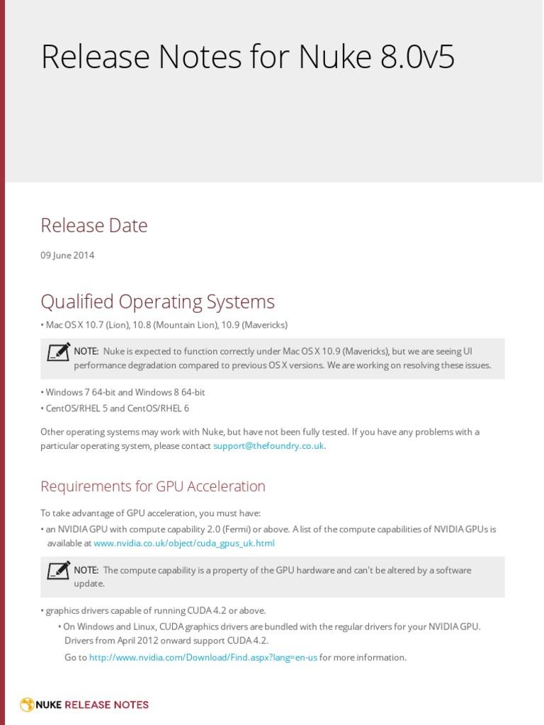 Nuke 8 0v5 ReleaseNotes | Graphics Processing Unit | Mac Os