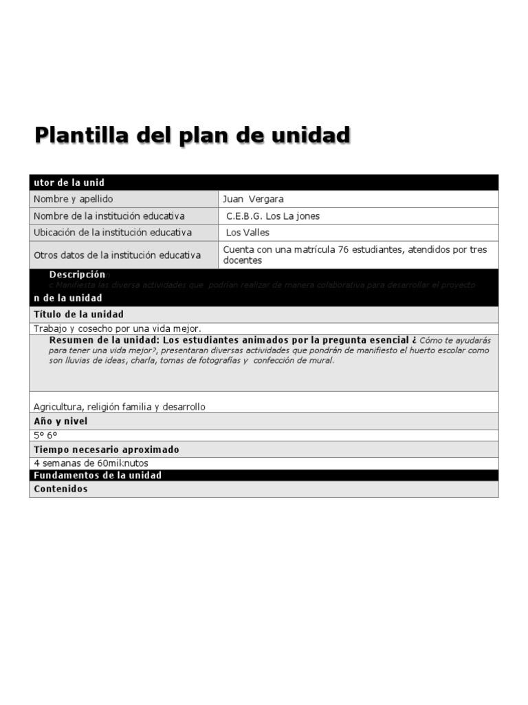 plantilla del plan de unidad nueva