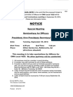 Special Meeting, 9-30-14, Nominations for Officers of CWA Local 1022