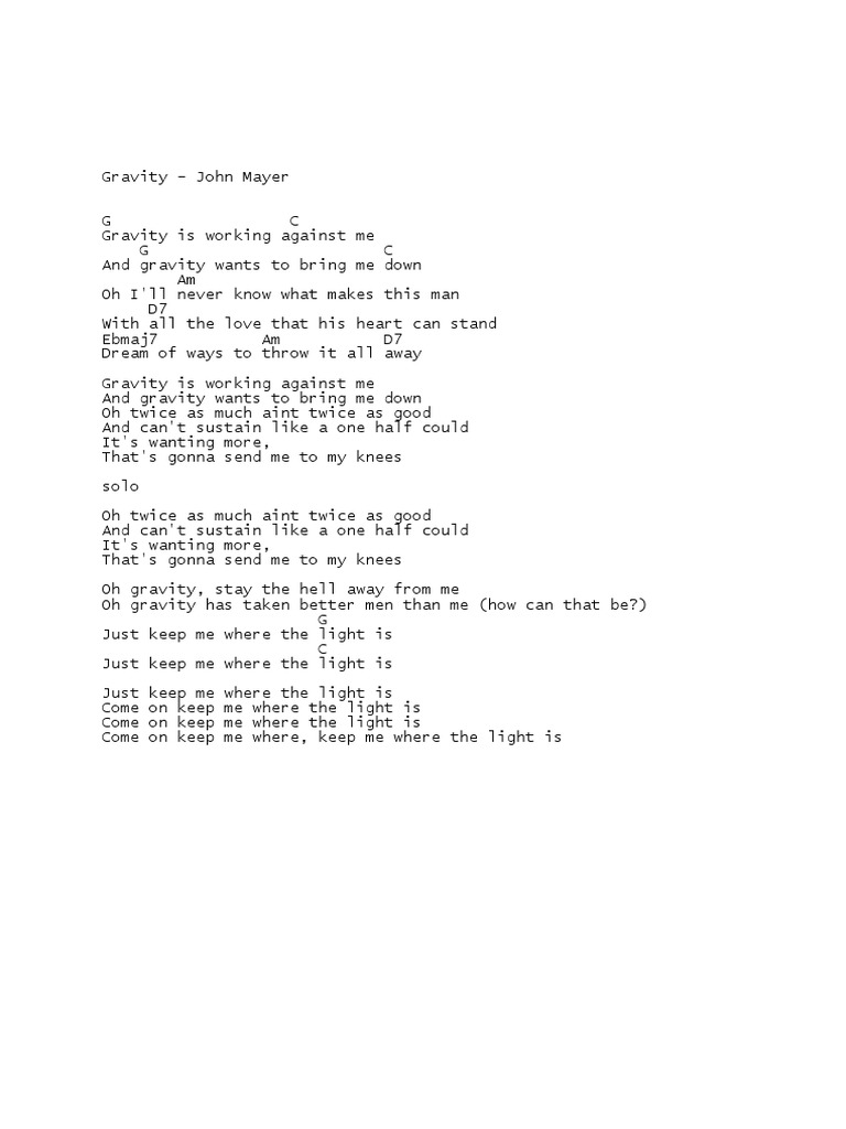 Perfect Defying Gravity Chords Gift Song Chords Images Apa