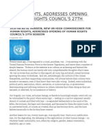 Human Rights, Addresses Opening of Human Rights Council's 27th Session