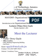 Lecture 1- Introduction to Organizational Behaviour - September , 2011