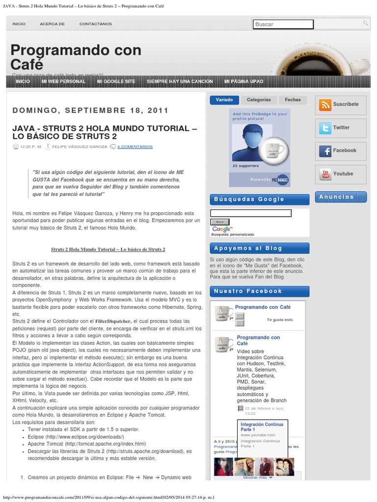 JAVA - Struts 2 Hola Mundo Tutorial – Lo básico de Struts 2 ...