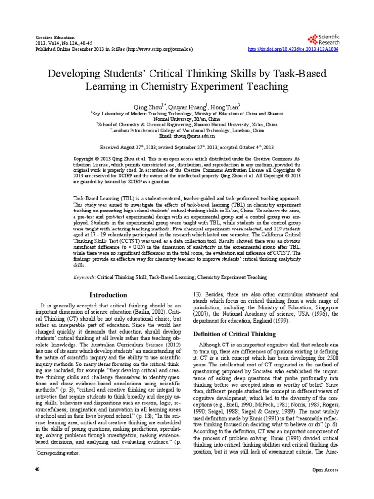 critical thinking task based learning critical thinking