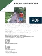 Perhitungan Kebutuhan Material Rabat Beton Jalan