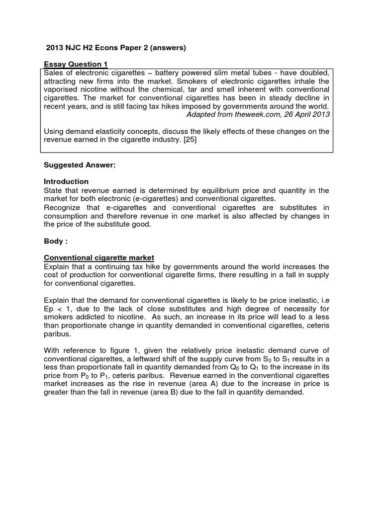 njc h econs paper answers electronic cigarette 2013 njc h2 econs paper 2 answers electronic cigarette market economics