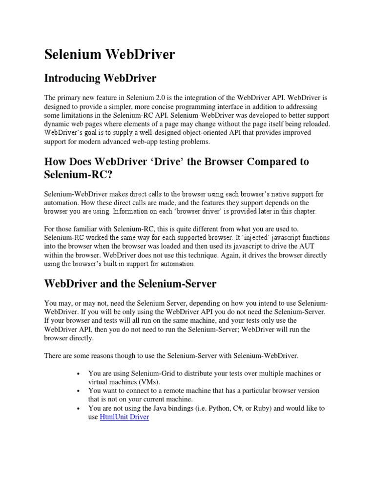 Selenium Webdriver | Selenium (Software) | Java Script