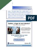 Convite Palestra Sobre Québec
