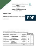 Criterios y Rubricas de Evaluacion de Quimica i Curso 2014b