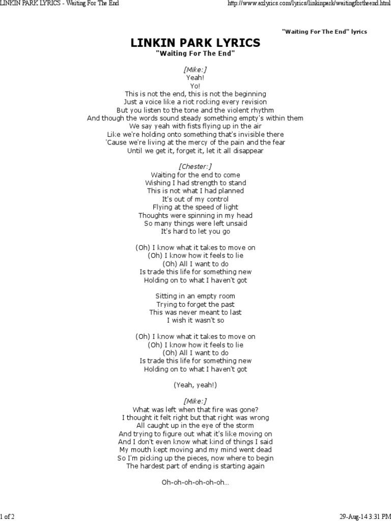 Linkin Park Lyrics - Waiting for the End | Música grabada | Ocio