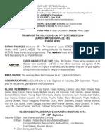 14th September 2014 Parish Bulletin