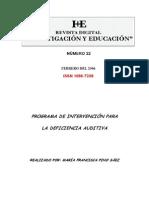Programa de Intervencion en Niños Con Deficit Auditivo