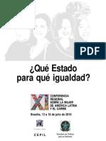 ¿Qué Estado Para Que Igualdad - Conferencia Regional Sobre La Mujer de Aca. Ltna y El Caribe
