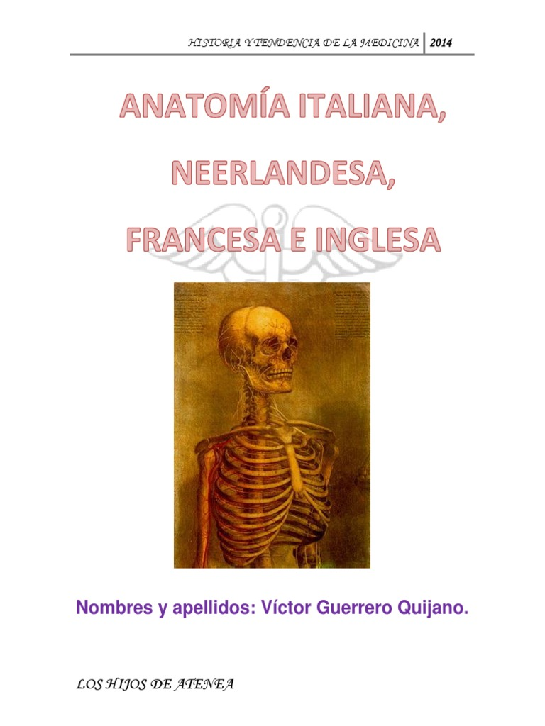 Anatomía Italiana, Neerlandesa, Francesa e Inglesa