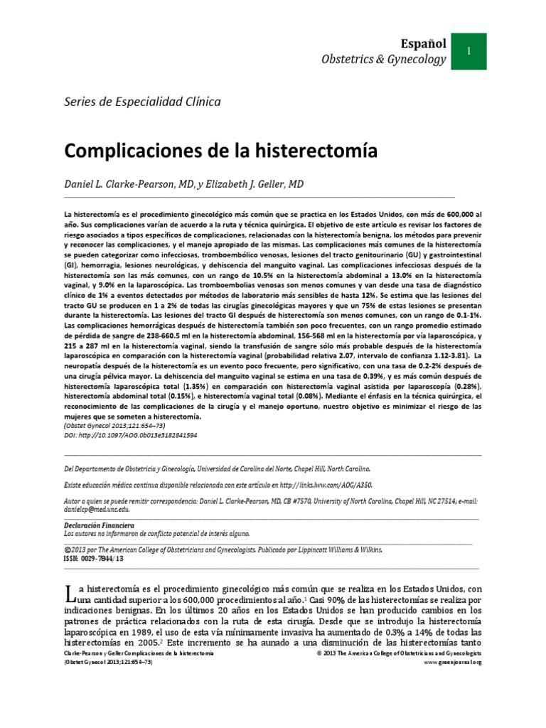 Complicaciones de La Histerectomía(1)