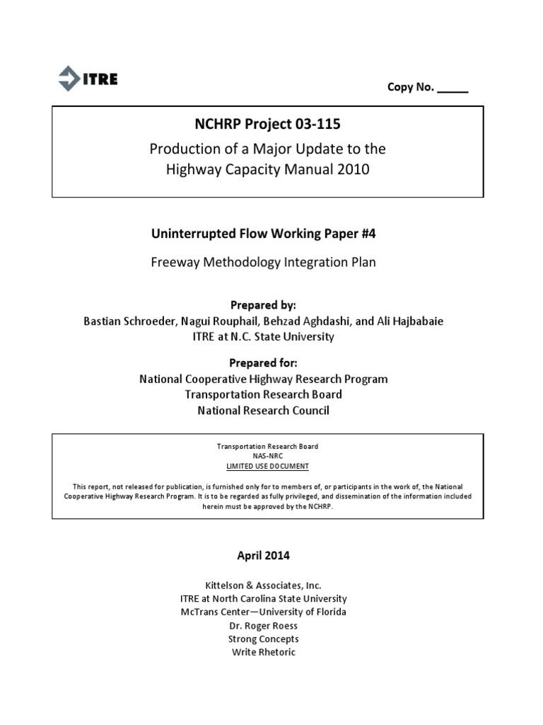 NCHRP 03-115 - Uninterrupted Flow - WP 4 - Freeway Method