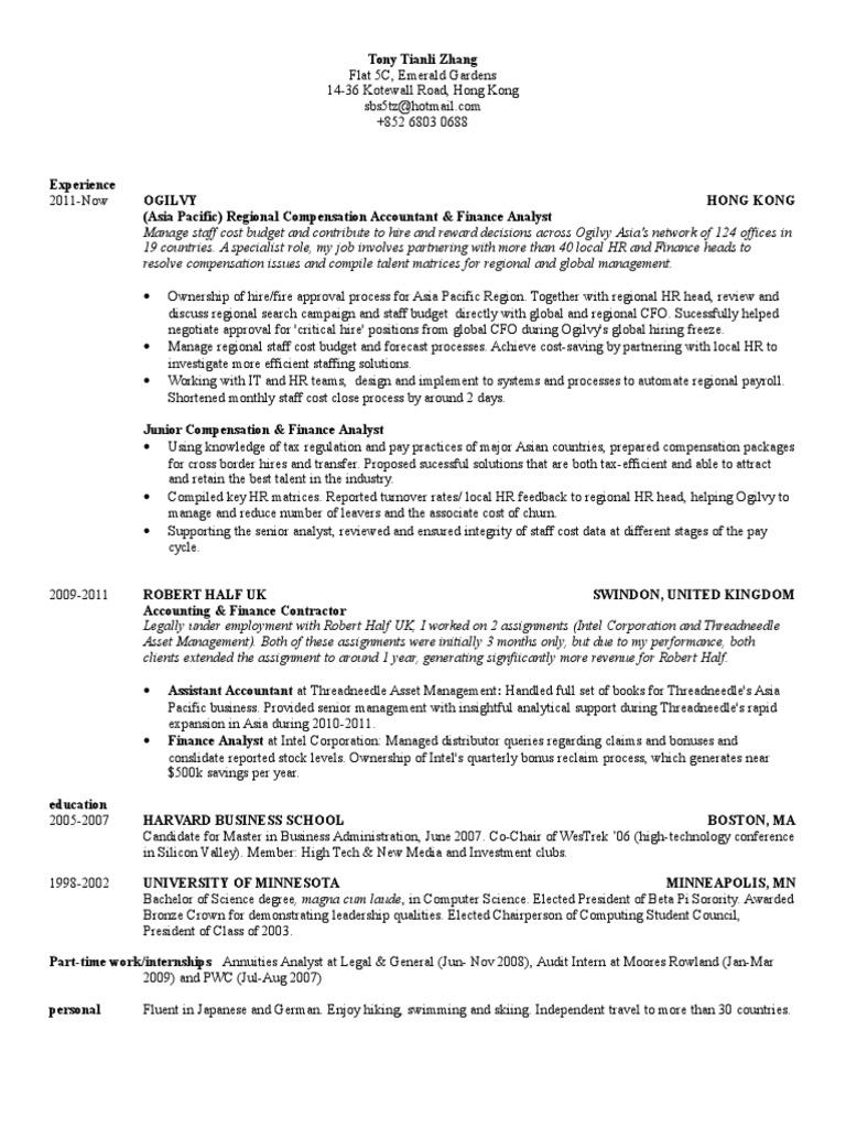 Resume harvard business school format hidden jobs by resume manager
