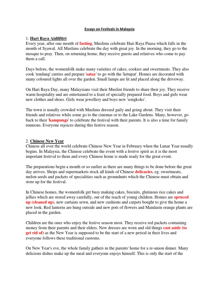 chinese new year model essays