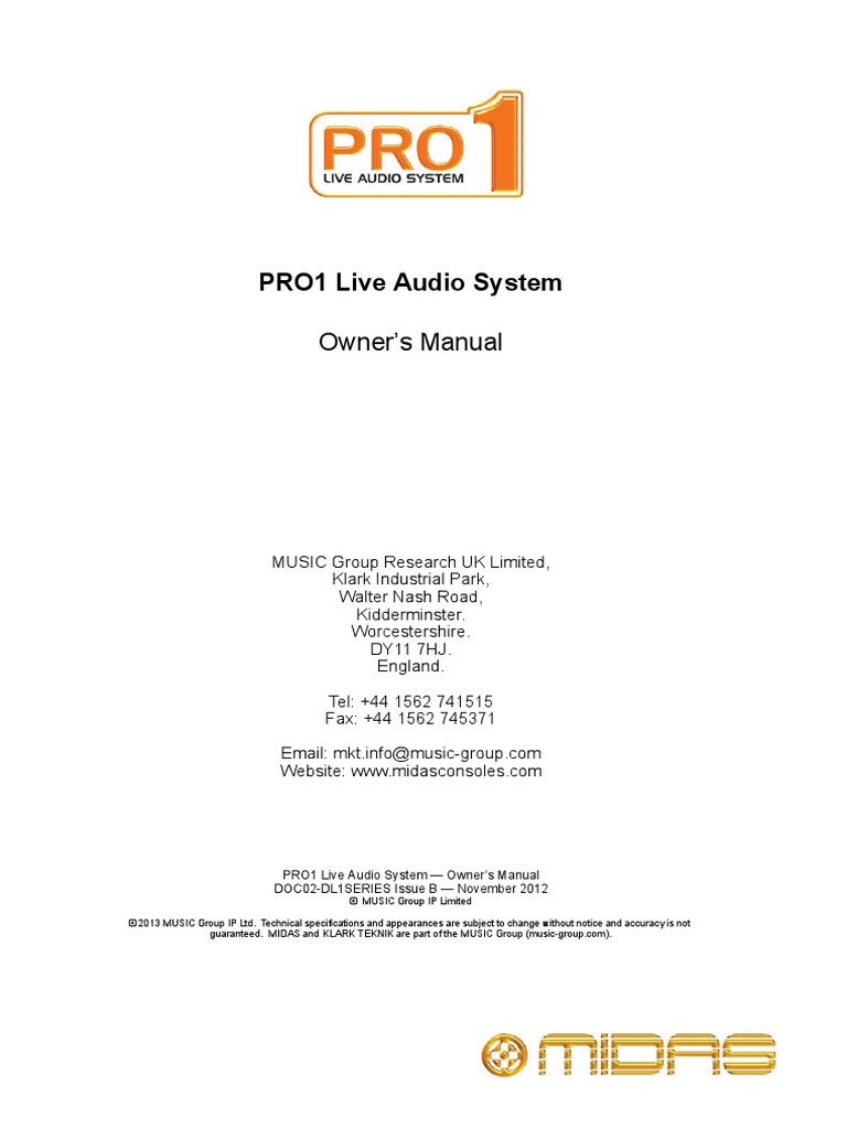 Midas Pro1 Operators Manual Proprietary Software License Element Night Vision Mount Xlr As Well Master Slave Switch Circuit