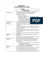 Checklist for Sub Contract and Accounting