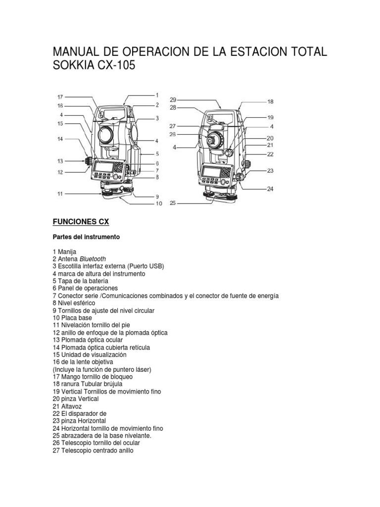 manual de operacion de la estacion total sokkia cx trabajo rh es scribd com  manual estacion total sokkia cx 105 pdf español