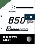 Norton Commando 850 Parts Manual
