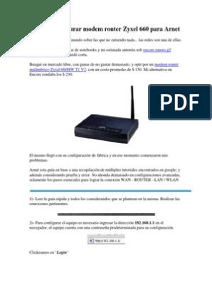 GUIA] Configurar modem router Zyxel 660 para Arnet docx