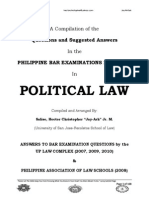 2007-2013 Political Law Philippine Bar Examination Questions and Suggested Answers (JayArhSals)