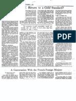 Greenspan Return to Gold Newspaper Art