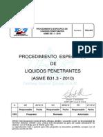 Tsg 203 Procedimiento Especifico de Liquidos Penetrantes Asme b31.3-2010