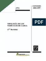 Covenin 2402-1997 Tipologia de Los Vehiculos de Carga