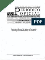 Reglamento de Ley de Transporte, Transito y Vialidad, Zac