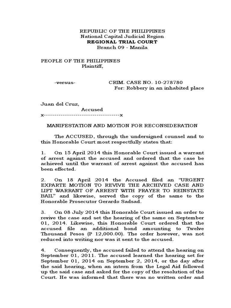 Sample Motion Of Reconsideration Arrest Arrest Warrant