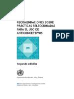 RECOMENDACIONES SOBRE PRÁCTICAS SELECCIONADAS PARA EL USO DE ANTICONCEPTIVOS