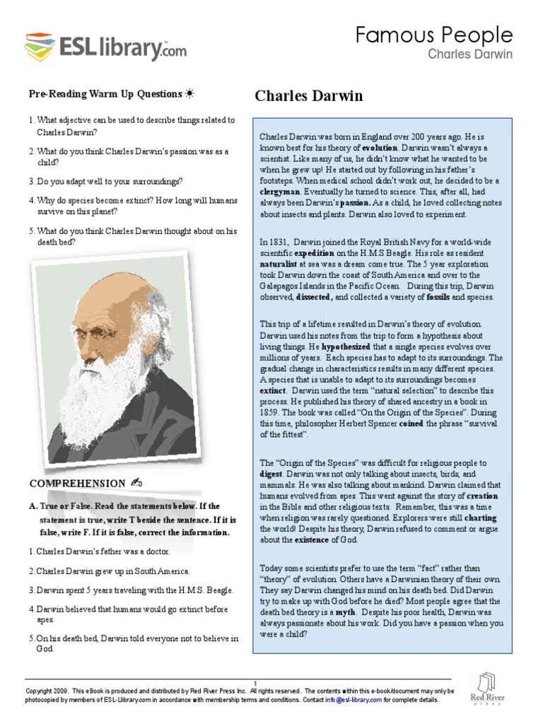 a discussion on the evolution theory according to charles darwin