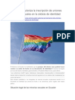 Ecuador Autoriza La Inscripción de Uniones Homosexuales en La Cédula de Identidad