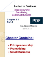 Chapter - 3 - Entrepreneurship, Franchising and Small Business Part-1