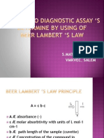 An in Vitro Diagnostic Assay's Determine by Using of Beer Lambert's Law
