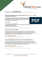 ONLINETEXTE.com - Newsletter 01.09.2014