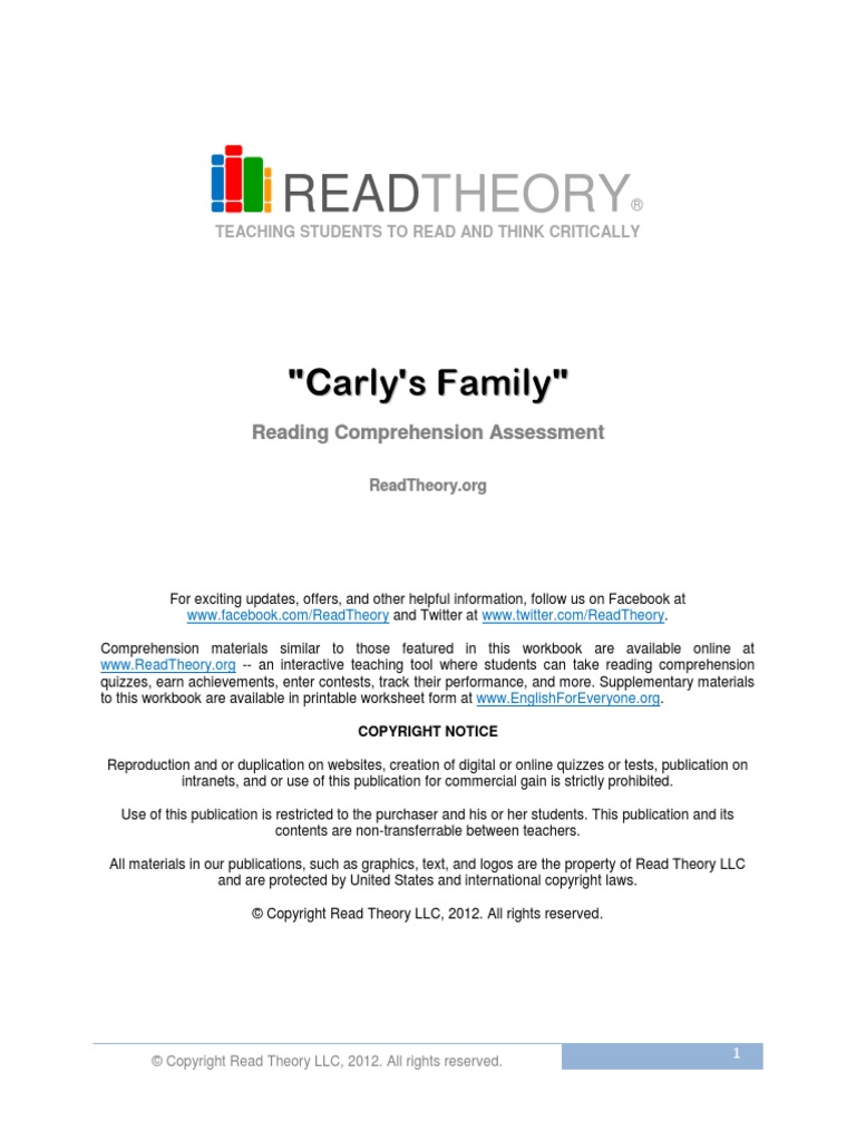 Worksheets Read Theory Worksheets 1 carlys family free sample reading comprehension copyright