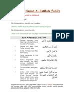 Fadhilat Surah Al-Fatihah (الفاتحة)