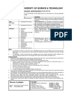 Kohat University Advertisement-Graduate Programmes Fall 2014 (1)