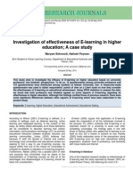 Investigation of Effectiveness of E-learning in Higher