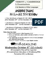 Cambridge Exams Dec 2014