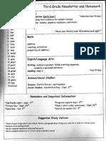 Newsletter & Homework 9.15.14