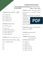 PISM 1 - 1ª Lista Matemática - Domínio e Imagem de Uma Função